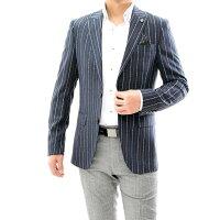 テーラードジャケットネイビー紺ストライプブレザーメンズネイビー紺ジャケパン二つボタンXXXL大きいサイズも入荷ビジネスジャケット