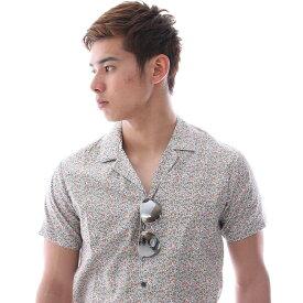 半袖シャツ 開襟シャツ 小花柄 メンズ レトロ 柄シャツ 白 ベース XXXL 大きいサイズも入荷 メール便 可能