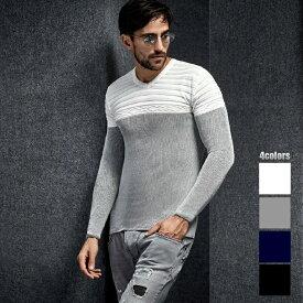 Vネック ニット セーター メンズ 胸ボーダー編み 薄地 薄手 白グレー コットンニット 春 秋冬 キレイメ