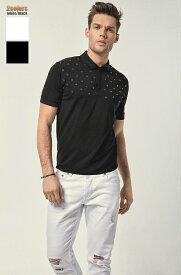 半袖 ポロシャツ ストレッチ メンズ 白/黒 スタッズ 父の日 プレゼント 大きいサイズも入荷