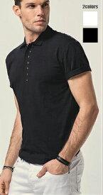半袖 ポロシャツ ハーフジップ ストレッチ メンズ 白/黒 スタッズ 父の日 プレゼント 大きいサイズも入荷