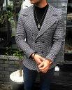 Pコート ツイード ショート丈 白黒 メンズ 大きいサイズも入荷 タイト 細身