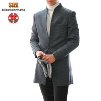 チェスターコートグレンチェック紺/ネイビーハーフコートメンズ大きいサイズも入荷一つボタン