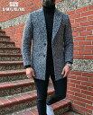 チェスターコート ハーフコート 厚地 圧縮ウール 紺/ネイビー メンズ 大きいサイズも入荷 一つボタン