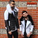 中綿ジャケット ライダースジャケット フード付き メンズ アウター 白/黒 XXL大きいサイズも入荷