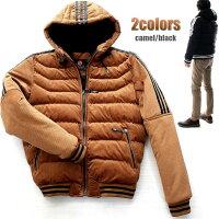 中綿ジャケットフード付きコーデュロイメンズアウター黒/キャメルXXL大きいサイズも入荷
