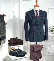 テーラードジャケットダブルブレザーストライプストレッチメンズ紺/ネイビータイト/スリムフィットジャケパン春/秋/冬大きいサイズも入荷ビジネスジャケット
