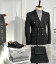 テーラードジャケット ダブル ブレザー ストライプ ストレッチ メンズ 黒 タイト/スリムフィット ジャケパン 春/秋/冬 大きいサイズも入荷 ビジネスジャケット