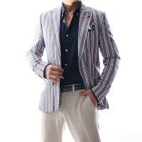 テーラードジャケットサマージャケットベージュ麻/リネンストライプブレザー背抜き春/夏/秋メンズジャケパンビジネスジャケット大きいサイズも入荷裏地無し