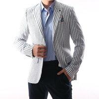 テーラードジャケットブレザーサマージャケット白/紺ストライプ春/夏/秋メンズジャケパンビジネスジャケット大きいサイズも入荷背抜き