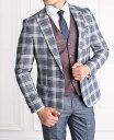 テーラードジャケット セットアップ ブレザー ジレ チェック メンズ グレー タイト/スリムフィット ジャケパン 春/秋/冬 大きいサイズも入荷 ビジネスジャケット