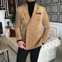 テーラードジャケット コーデュロイ ダブル ブレザー メンズ ベージュ タイト/スリムフィット ジャケパン 春/秋/冬 大きいサイズも入荷 ビジネスジャケット