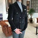 テーラードジャケット コーデュロイ ダブル ブレザー メンズ 黒 タイト/スリムフィット ジャケパン 春/秋/冬 大きいサイズも入荷 ビジネスジャケット