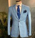 テーラードジャケット ブレザー ブルー/青 ストライプ ストレッチ 春/夏/秋 サマージャケット 背抜き メンズ ジャケパン ビジネスジャケット 大きいサイズも入荷