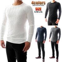ニットセーター薄手/薄地凹凸編み柄クルーネック白/グレー/キャメル大きいサイズも入荷