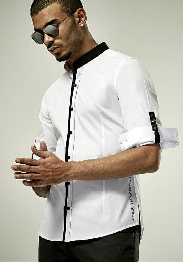 長袖シャツ バンドカラー メンズ ストレッチ 白黒 M/L/XL/XXL 春夏秋 父の日 プレゼント