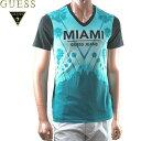GUESS(ゲス) Vネック Tシャツ メンズ MIAMI フォトプリント 青グレー