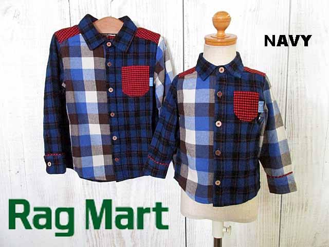 2018秋冬 RAG MART ラグマート クレイジーチェックシャツ:90cm,95cm:1183808