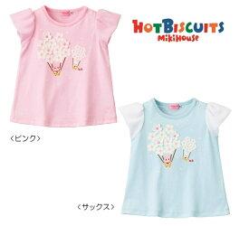 MIKIHOUSE HOTBISCUITS ミキハウス ホットビスケッツ お花の気球♪キャビットちゃん半袖Tシャツ:100・110cm:72-5207-612