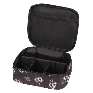 メイクボックス 旅行用化粧ケース コスメ バッグ ボックス トラベル化粧ポーチ メイクブラシ 小物入れ 収納 Bタイプ ブラックフラワー