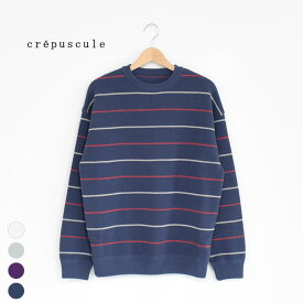 【SALE 30%OFF】crepuscule(クレプスキュール)/border moss stitch L/S sweat ボーダーモスステッチロングスリーブスウェット/メンズ/crepuscule ニット/クレプスキュール ニット/クレプスキュール 20ss【返品交換不可】