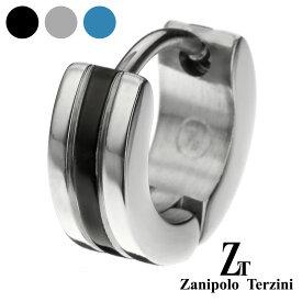 zanipolo terzini (ザニポロタルツィーニ) センター カラー スリー ライン フープピアス フープピアス メンズ 男性 アクセサリー サージカルステンレス ピアス[ステンレスピアス] 片耳用 (1個売り)