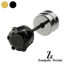 zanipolo terzini (ザニポロタルツィーニ) 5mm ブラック ジルコニア スタッドピアス メンズ 男性 ピアス アクセサリー サージカルステンレス ピアス[ステンレスピアス] 片耳用 (1個売り)