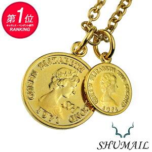 SHUMAIL(シュメール) ネックレス メンズ ダブル ゴールド コイン ペンダント シンプル ブランド ステンレススチール316L PVD アクセサリー ブラス[真鍮]