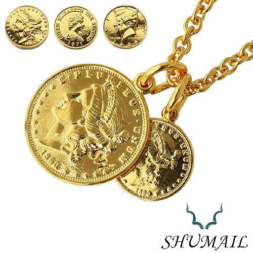【シュメール】ネックレス メンズ ダブル ゴールド コイン ペンダント シンプル ブランド:SHUMAIL [真鍮] ブラス ステンレススチール316L PVD アクセサリー