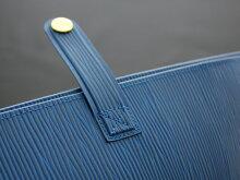 本革風エピ柄ポケット・ペンホルダー・ボタン付きA4ノートカバーグラスブルー水シボ模様