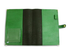 B5サイズノートカバー本革風エピ柄(グラスグリーン)