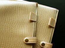 本革風ワニ柄ポケット・ペンホルダー・ボタン付きA4ノートカバークロコシャンパンゴールドクロコダイル模様
