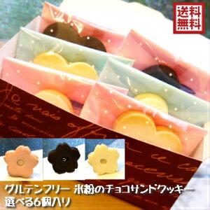 【米粉のグルテンフリーエッグフリー無添加 チョコサンドクッキー】ハート型 桜型 選べる3つの味 6個 小麦粉不使用 卵不使用 送料無料(一部地域追加送料400円)メッセージシール対応