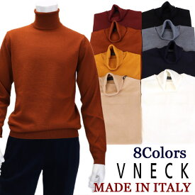 V NECK ≪ブイネック≫ イタリアブランド イタリア製タートルネック セーター メンズ イタリア製 ハイゲージウールセーター ニット 無地 ≪ブラック 黒 ネイビー 紺 ホワイト 白 ベージュ ブラウン マスタード 紅≫13000-K