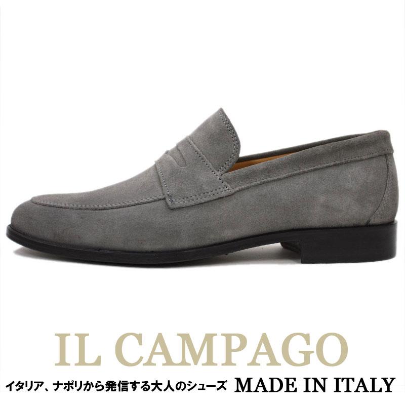 IL CAMPAGO≪イルカンパゴ≫ イタリアブランド イタリア製 スリッポンシューズ ローファースリッポン メンズ ≪スエード 革靴