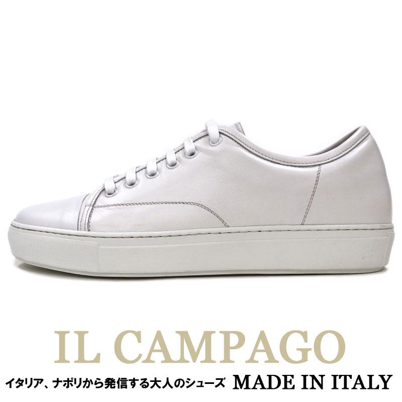 ILCAMPAGO ≪イルカンパゴ≫ イタリアブランド イタリア製 レザースニーカー メンズ 白 スニーカー≪カジュアルシューズ ホワイト