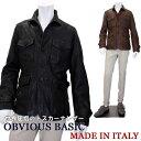 イタリア製 レザージャケット メンズ イタリアブランド OBVIOUS BASIC ≪オビオスベーシック≫ M-43モデル ミリタリージャケット 革ジャケット 本革 レザーカジュアルジャケット ウォー
