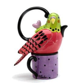 セキセイインコのティーポット&マグ〜Tea For One(ピンク)