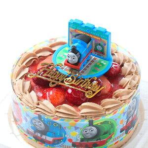 きかんしゃトーマス・チョコ生クリーム/苺2段サンド・キャラデコお祝いケーキ