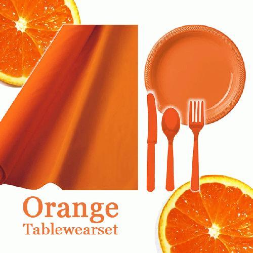 オレンジ 橙 【テーブルウェアパッケージ】クロス プレート カトラリー セット 誕生日 アウトドア テーブルウェア パーティーウェア 食器 ピクニック 運動会