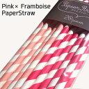 PapierStraws ペーパーストロー 紙ストロー ピンク・フランボワーズ各10本計20本入【ウエディング ホームパーティー…