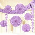 ルームデコレーションキットガーランドハニカムペーパーファンライラック紫ハンギングデコ