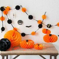 ハニカムデコレーションパンプキンかぼちゃオレンジ15cm【ハロウィンハロウィーンお部屋飾り店内装飾ハロウィンパーティーパーティーグッズ】