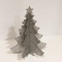 パーティーセンターピース卓上グリッタークリスマスツリーシルバー25cm