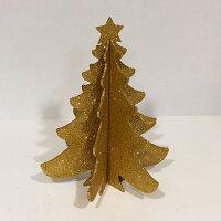 パーティーセンターピース卓上グリッタークリスマスツリーゴールド25cm