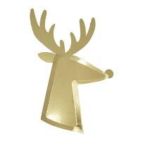 【MeriMeri】クリスマスゴールドトナカイプレート紙皿8枚入り