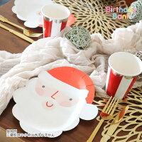 【MeriMeri】クリスマスペーパープレートサンタ紙皿12枚入り