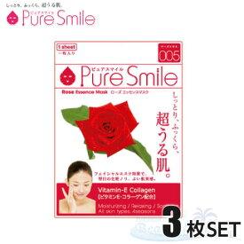3枚セット Pure Smile エッセンスマスク ローズ 化粧水タイプ 【ピュアスマイル フェイスマスク 3枚】