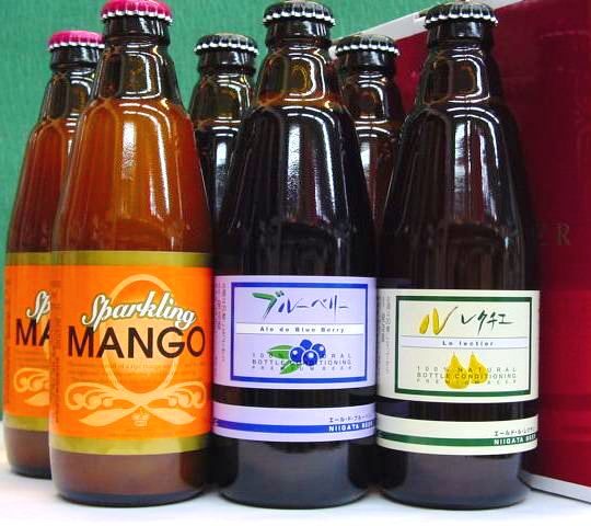 【マンゴー】【ブルーベリー】【ル・レクチェ】300ml×各2本 新潟麦酒(株)6本化粧箱入りセット VOL.1誕生日、御礼、内祝等のギフトにも