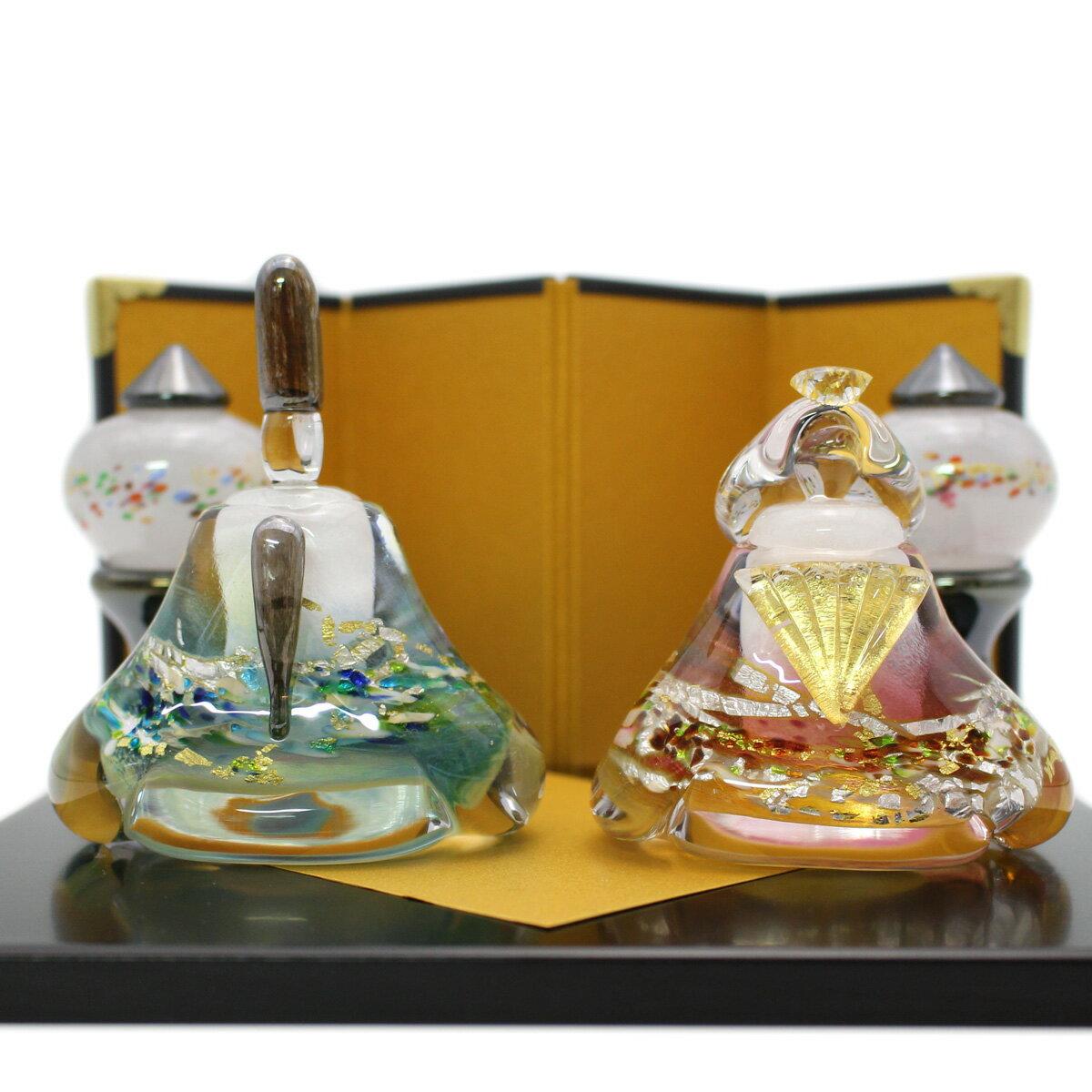 ガラスのお雛様 glass calico グラスキャリコ 華雛 雪洞(ぼんぼり)付き ハンドメイド ガラスアート 雛人形 ひな人形 おひなさま 桃の節句 オブジェ
